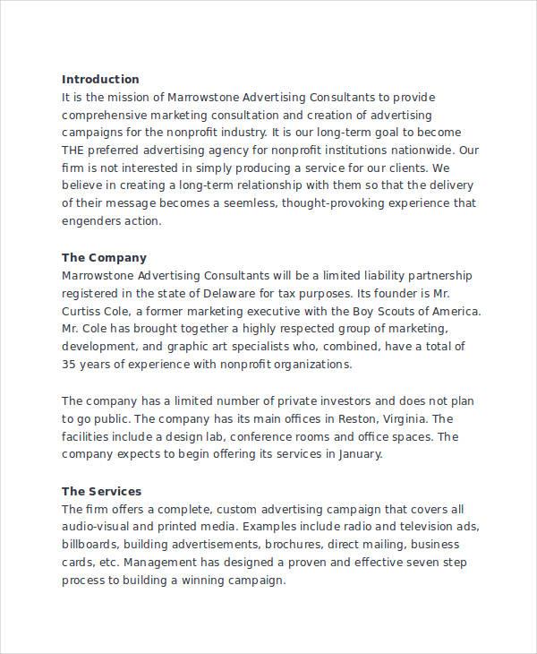 advertising business plan sample