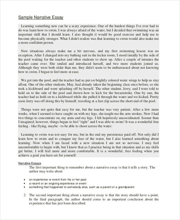 narrative essay - Narrative Example Essay