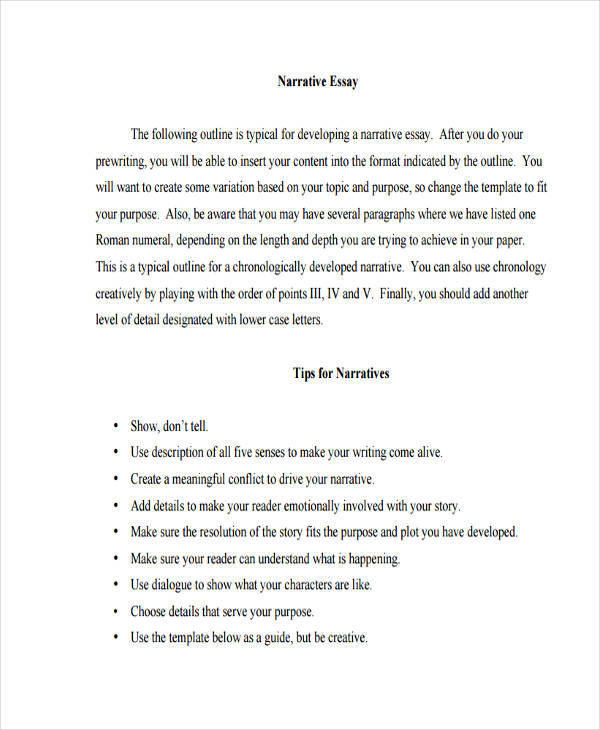 Essay Outline  Narrative Essay Outline Example EssayOutline