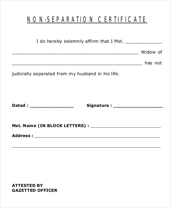 non separation certificate