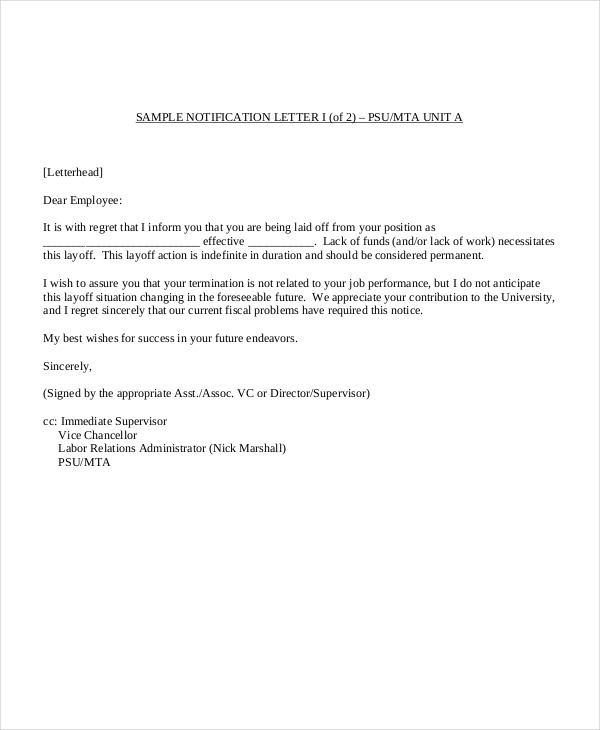 notice letter to employer