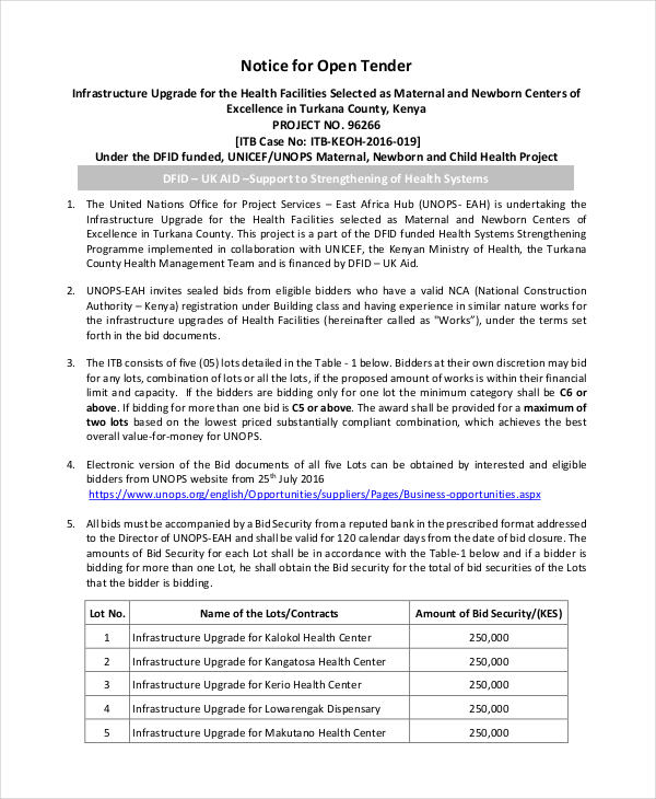 8 tender notice examples samples 9 tender notice examples samples stopboris Choice Image