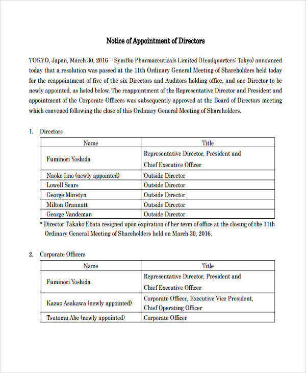 notice of appointment of directors