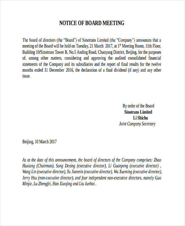 43 notice examples samples in pdf for Notice of board meeting template