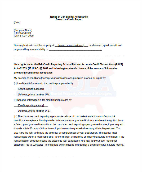 notice of conditional acceptance