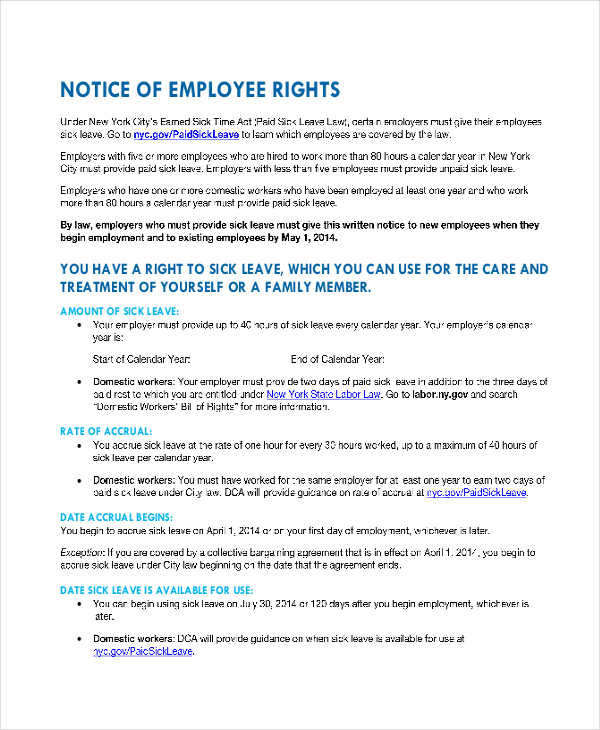 notice of employee rights