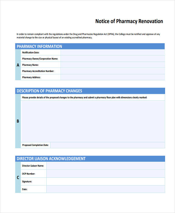 notice of pharmacy example