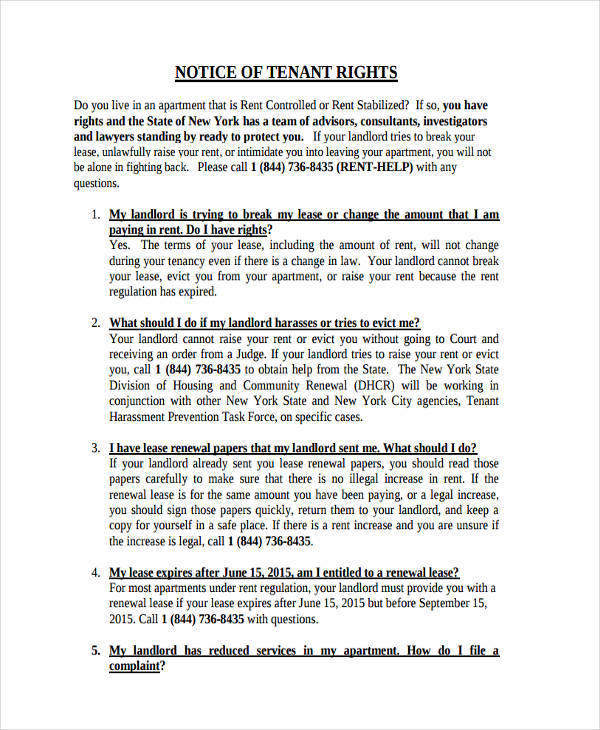 notice of tenants rights