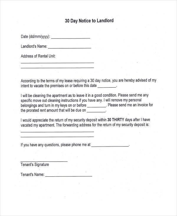 notice to landlord