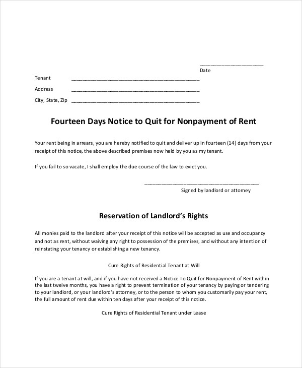 notice to quit for nonpayment of rent