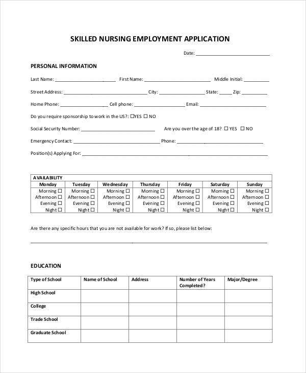 nursing application sample