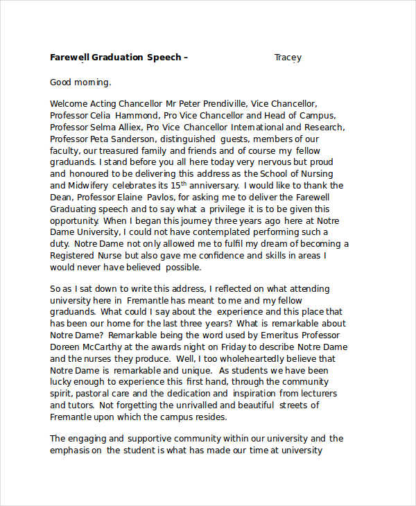 Graduation Speech Example Template  Resume Template Sample