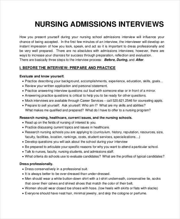 nursing interview example