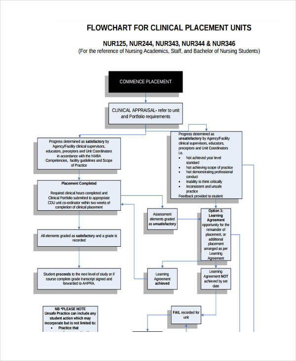 nursing placement unit flow chart