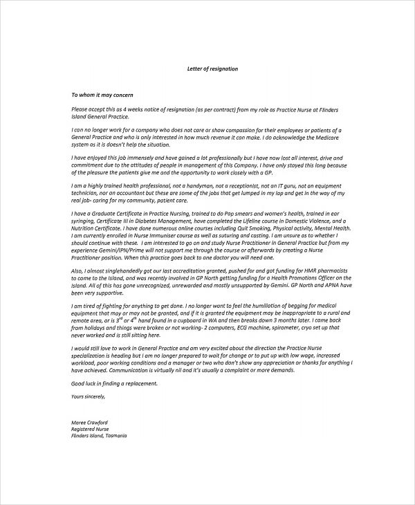 nursing resignation notice