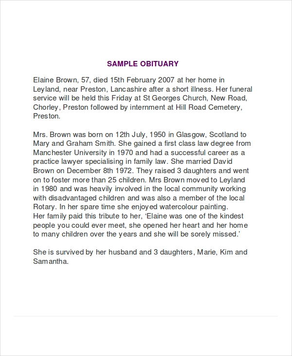 Obituary-Writing-Sample1 Taking Format Examples on svg file, formal letter, apa style essay, rich text, cover letter, long date, business letter, graphic file,