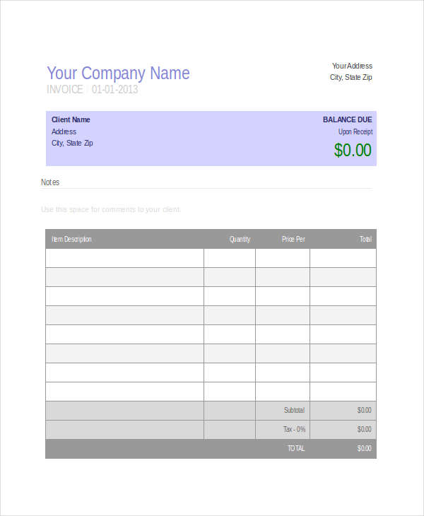 office invoice