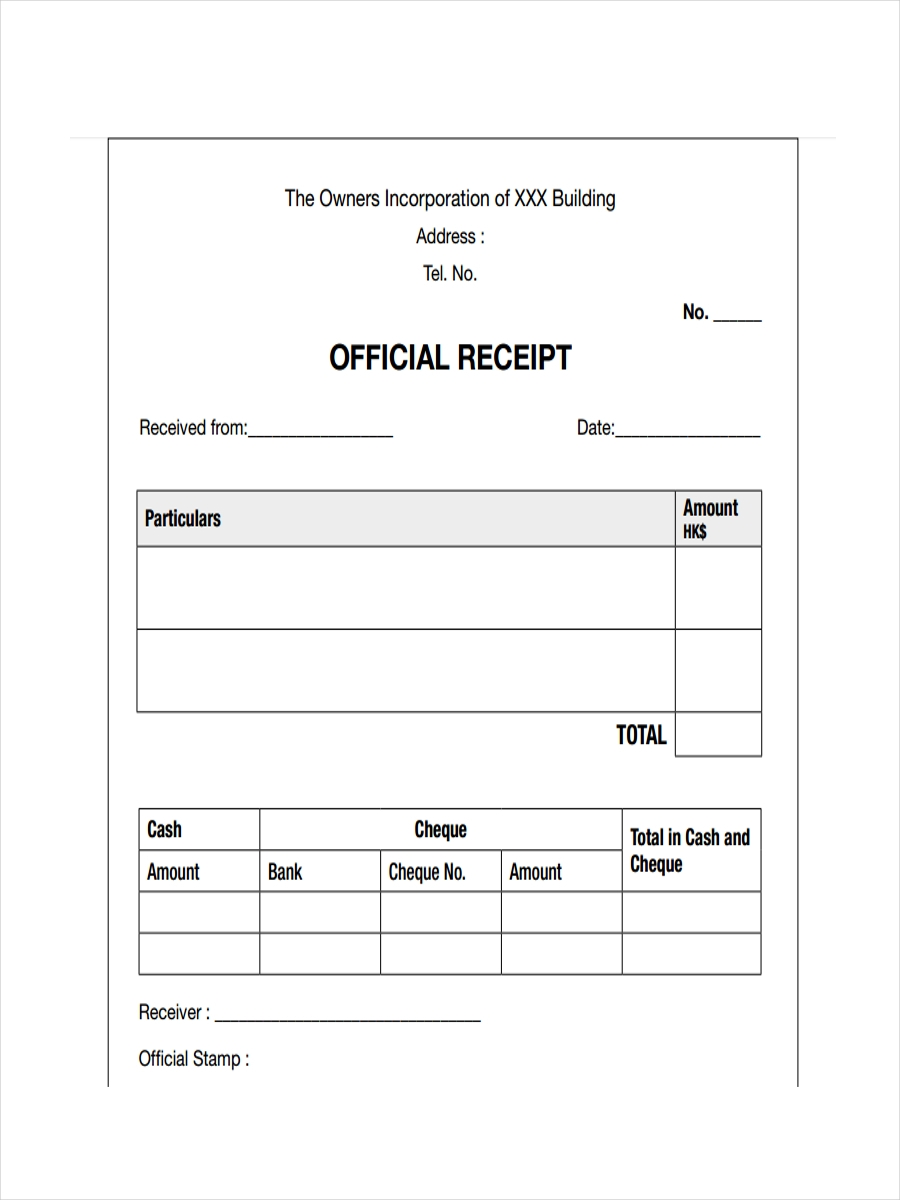 Official Receipt Of Payment  Basic Receipt Template
