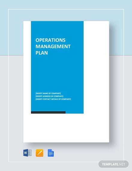 operations management plan