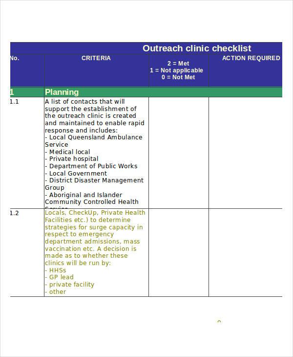 outreach clinic sample