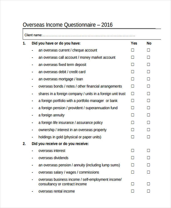 overseas income questionnaire