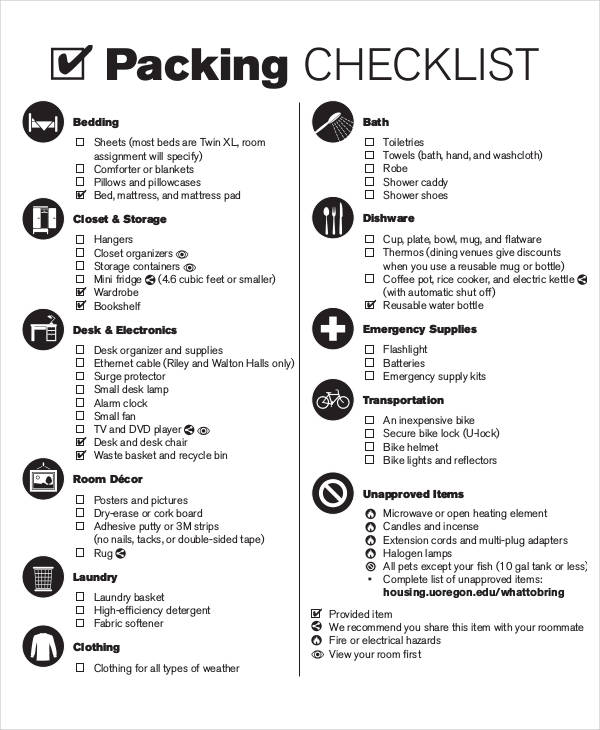 26 printable checklist examples packing checklist pronofoot35fo Image collections