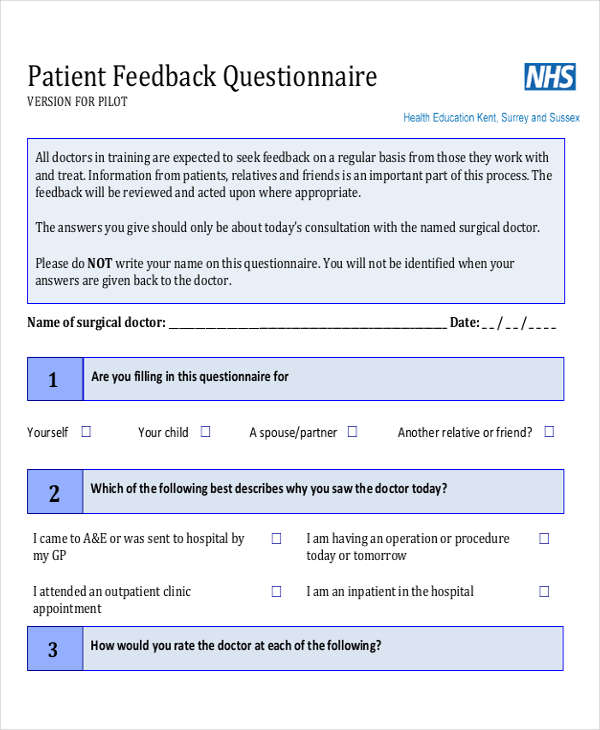 Feedback Questionnaire Examples Samples