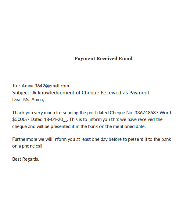 payment received email