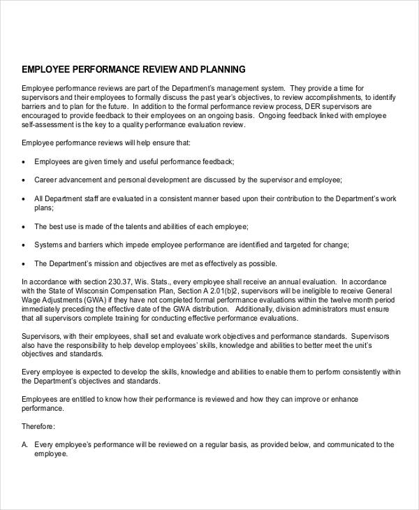 Performance Evaluation Plan Sample  Evaluation Proposal Sample