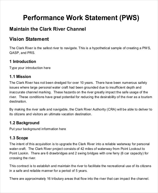 Work statement example seven quick tips regarding work for Quick will template