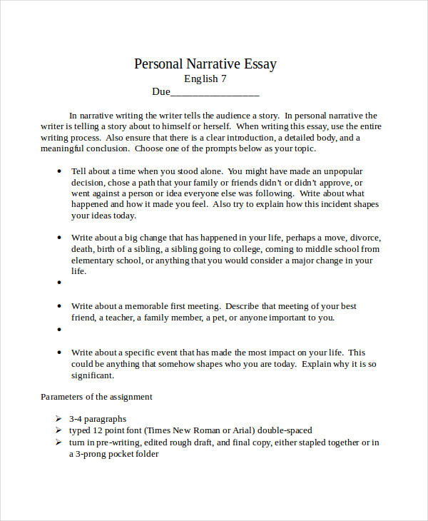 essay in doc personal narrative essay