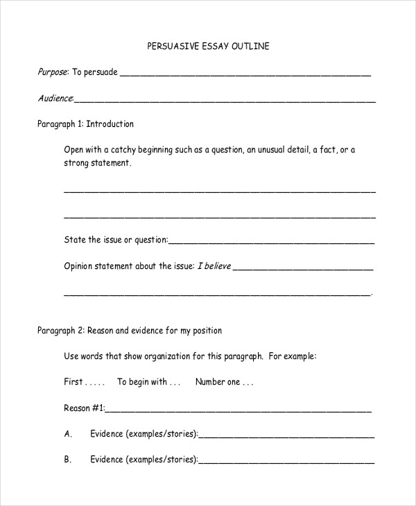 persuasive essay outline - Example Of Persuasive Essay Outline