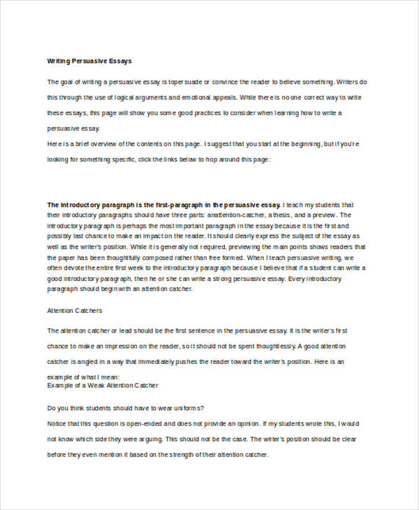persuasive essay writing - Examples Of Persuasive Writing Essays