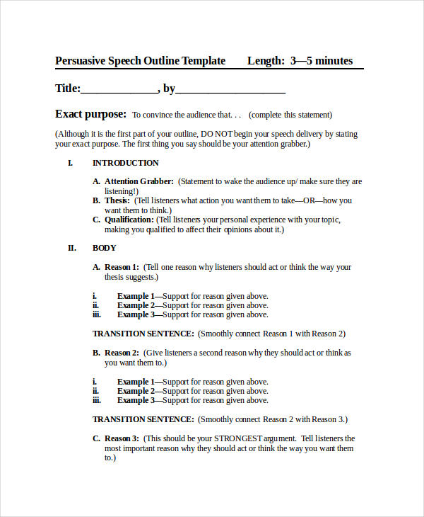 Persuasive Speech Sample Essay Speech Examples  Download Free