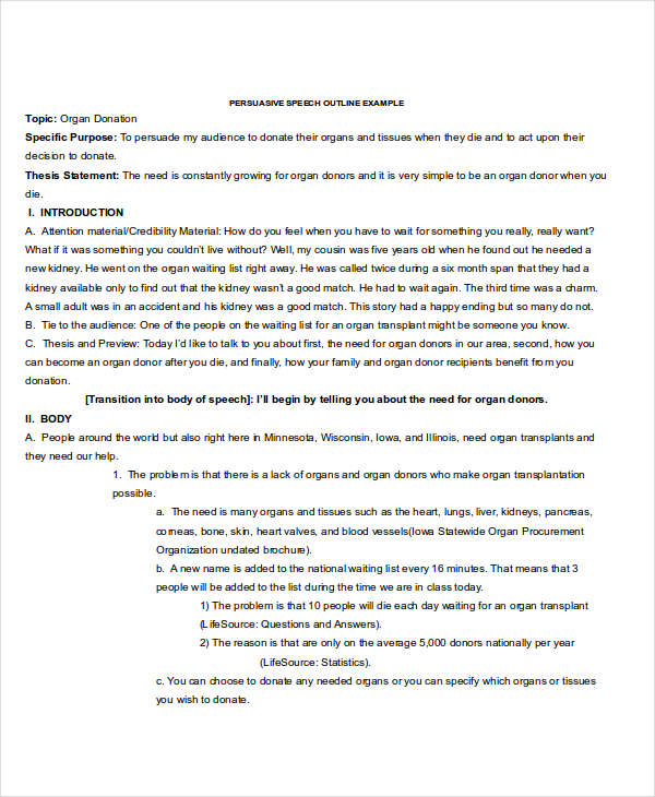 speech outline examples samples persuasive speech outline
