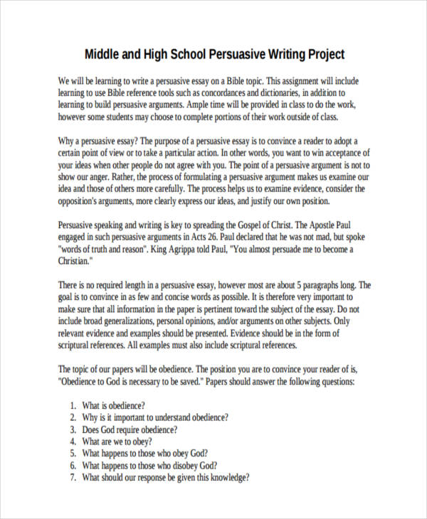 persuasive writing for high school