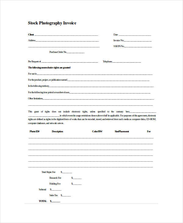 photography sample invoice