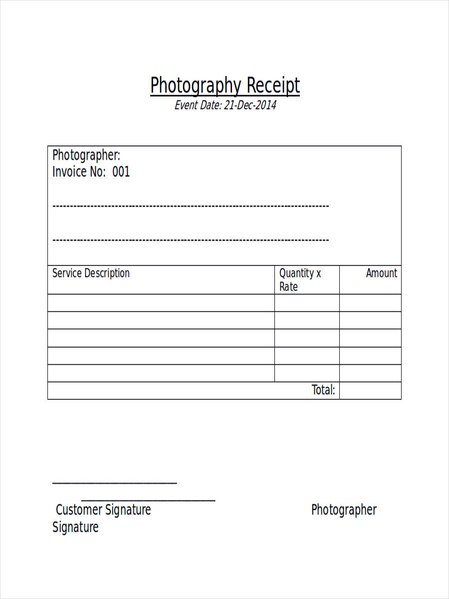 Free 6  Photography Receipt Examples  U0026 Samples In Pdf