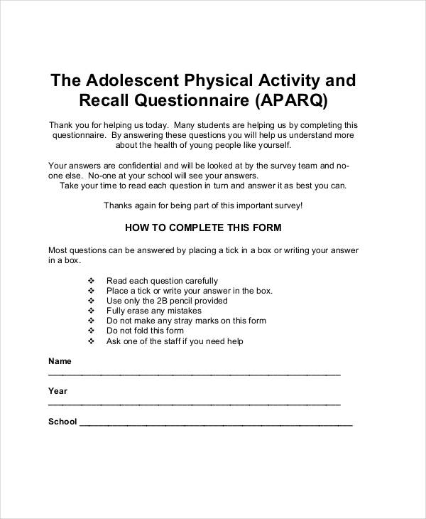physical activity questionnaire for adolescent