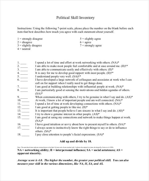 political skills inventory sample