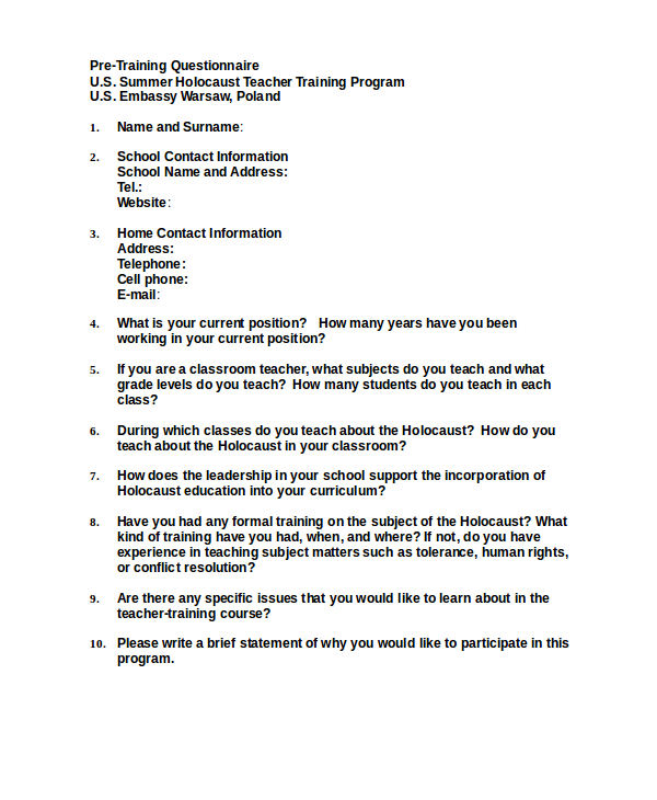 pre training questionnaire