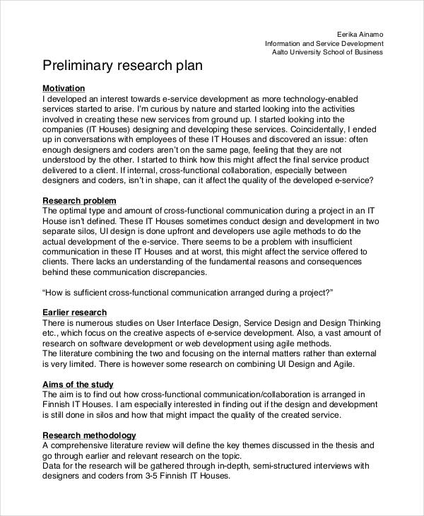Preliminary research proposal for phd