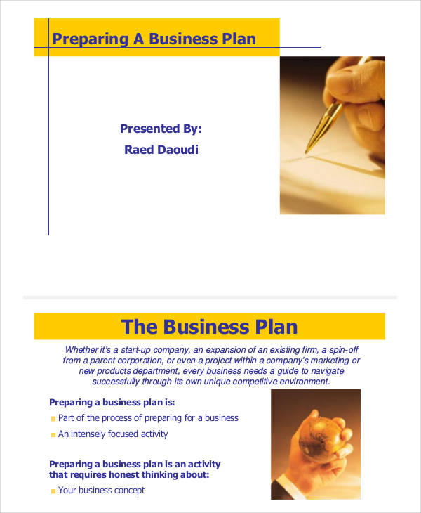 presentation business plan
