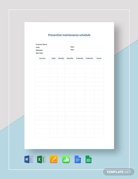 preventive maintenance schedule template1