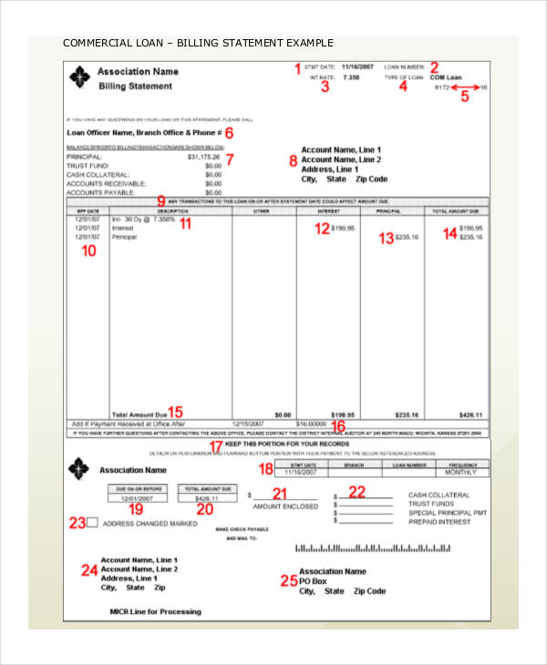 printable billing statement