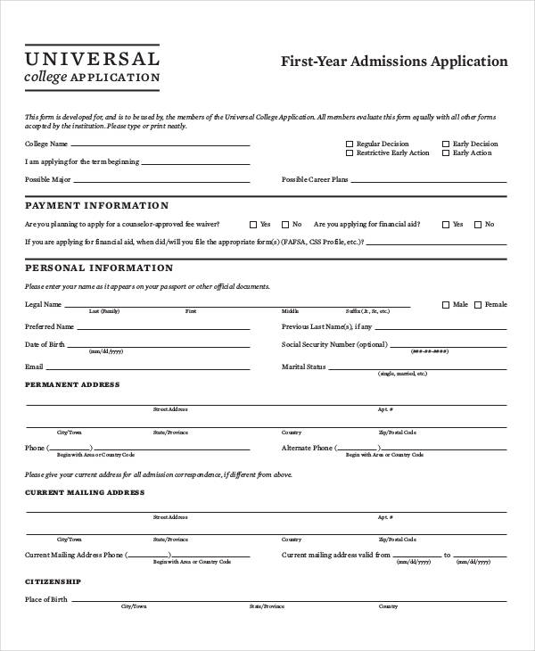 37 sample applications printable college example altavistaventures
