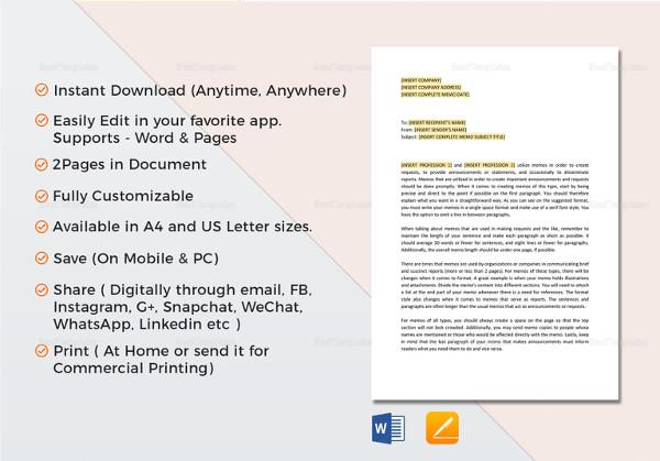 printable company memo template
