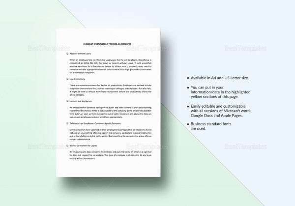 printable employee termination checklist template