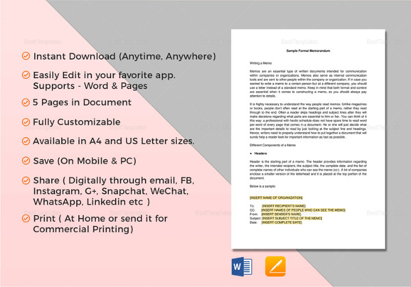 printable formal memorandum template
