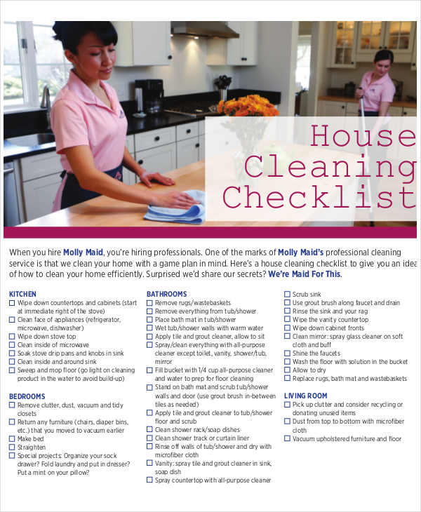 printable house cleaning